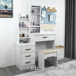 Large Dressing Table Stool Set withLED Light Sliding Mirror Makeup Table 4 Drawers
