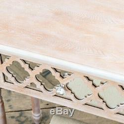Lattice Limed Oak Wood & Mirrored Glass Dressing Table & Stool Set