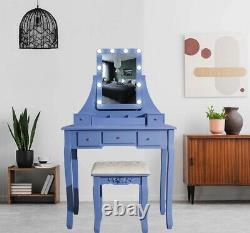 Light Blue Dressing Table With Led Mirror (5 Drawer) Stool Bedroom Makeup Desk