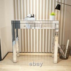 Luxury 2 Drawers Mirrored Dressing Table Mirror Stool Vanity Dresser Set -UK