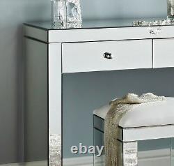 Luxury 90cm Glass Mirror Hall Bedroom Mirrored Dressing Table Chic Vanity Unit