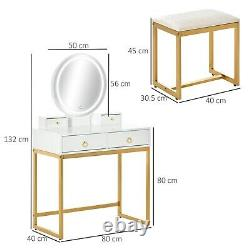 Luxury Dressing Table Stool Chair Gold Base LED Mirror Bedroom Make Up Vanity