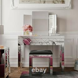 Luxury Mirrored Glass Dressing Table Mirror Stool Console Bevelled Venetian