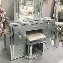 Madison Grey Silver Glass Vanity Tri-Folding Dressing Table Mirror Freestanding