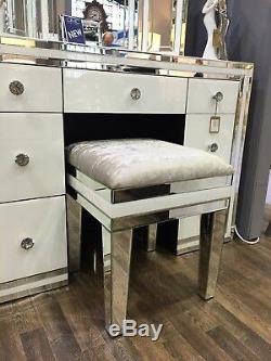 Madison Mirror White Glass Mirrored Velvet Upholstered Dressing Table Stool