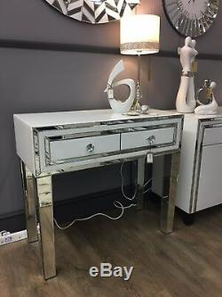 Madison White Glass & Mirror Trim 2 Drawer Dressing Table Hall Console