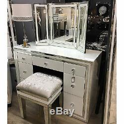Madison White Glass Mirrored 7 Drawer Large Dressing Table Desk Bedroom