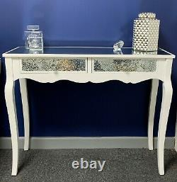 Margot 2 Drawer White Mirrored Mosaic Crackle Glass Console Dressing Hall Table