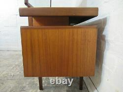 Mid Century G Plan Fresco Teak Five Drawer Dressing Table with Mirror and Stool