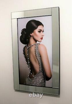 Mirror Frame Lady In Dress with Glitter Liquid Crystal Glass Wall Art 100x60cm