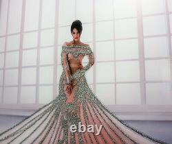 Mirror Frame Lady In Dress with Glitter Liquid Crystal Glass Wall Art 95x75cm