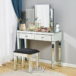 Mirror Makeup Desk Glass Dressing Table Stool Bedroom Console Venetian Vanity UK