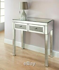 Mirrored 2 Drawer Console Hall Dressing Table Sparkly Diamond Crush Crystal New