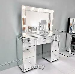 Mirrored 7 Drawer Dressing Table Vanity Dresser Fully Assembled Crystal Handles