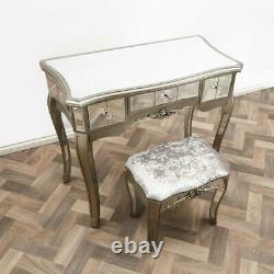 Mirrored Bedroom Dressing Console Glass Table Stool Mirror Vanity Desk Venetian