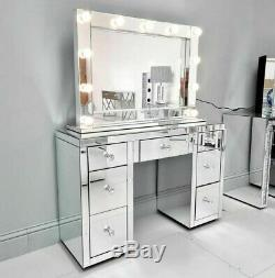Mirrored Bevelled Hollywood Mirror Bulb Make Up Dressing Table 100 CM X 70 CM