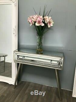 Mirrored Console Dressing Table Desk Venetian Retro Glass Furniture 1 Drawer