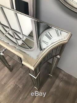 Mirrored Console Dressing Table TV Stand 1 Drawer Venetian Glass Furniture Home