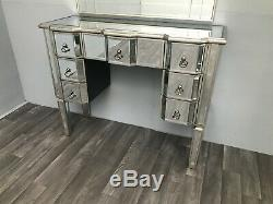 Mirrored Console Dressing Table Vintage Desk 7 Drawer Glass Furniture Home