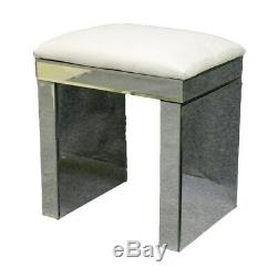 Mirrored Crystal Furniture Glass Dressing Table 2 Drawers with Console Stool UK