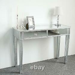 Mirrored Dressing Table 2 Drawer Clear Mirror New Furniture
