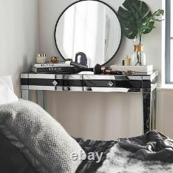 Mirrored Dressing Table Black Vanity Table Desk with 2-Drawer Storage