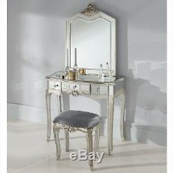 Mirrored Dressing Table Vanity Dresser Drawer Console Bedroom Stool Mirror Set