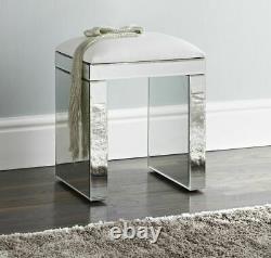 Mirrored Dressing Table Vanity Dresser Stool Bedroom 2 Drawers Wood Makeup Desk
