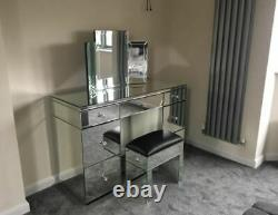 Mirrored Furniture Glass Bedroom Dressing Table and Chair and Mirror
