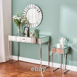 Mirrored Furniture Glass Dressing Table With Drawer Console Bedroom Vanity UK
