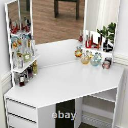 Mirrored Furniture Glass Dressing Table With Drawer Console Vanity Bedroom White