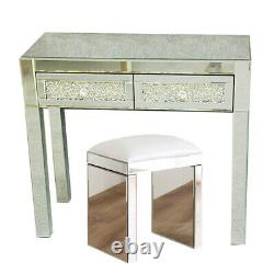 Mirrored Glass 2 Drawer Dressing Table And White Stool Desk Sets Furniture Unit