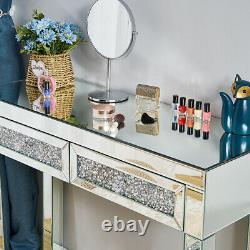 Mirrored Glass 2 Drawers Diamond Dressing Table Console Make-up Desk Bedroom UK