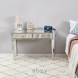 Mirrored Glass 2 Drawers Dressing Table Console Make-up Desk Vanity Bedroom NEW