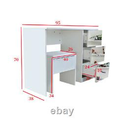 Mirrored Glass 3 Drawer Dressing Table & Stool Set Vanity Dresser Bedroom