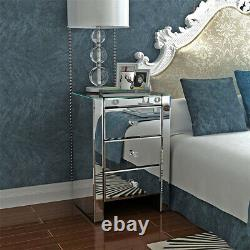 Mirrored Glass Bedroom Range Bedside Dressing Table Chests of Drawers UK Stock