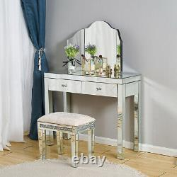 Mirrored Glass Drawers Dressing Table Mirror Stool Vanity Set Makeup Desk Glass
