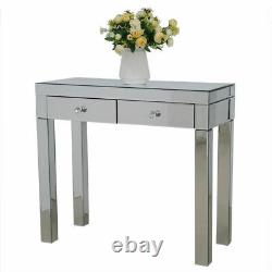 Mirrored Glass Dressing Table 2 Drawer Bedroom Makeup Table Dresser Desk Console