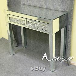 Mirrored Glass Dressing Table Bedside Bed Room Makeup Desk 2 Drawers Dresser UK