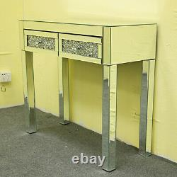 Mirrored Glass Dressing Table Drill Drawers of 2 Makeup Desk Table Furniture UK