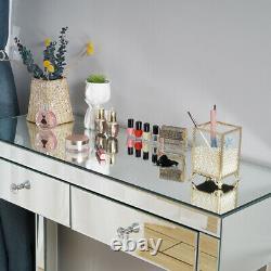 Mirrored Glass Dressing Table Makeup Vanity Desk Bedroom Drawer&Mirror&Stool UK
