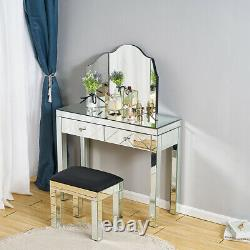 Mirrored Glass Dressing Table Mirror Stool Bedroom Make-Up Console Vanity Table