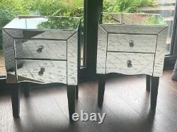Mirrored / Glass Dressing Table Set & 2 Bedside Cabinets / Drawers / Tables
