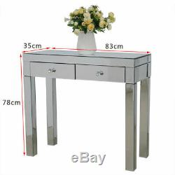 Mirrored Glass Dressing Table Stool 2 Drawer Console Bedroom Makeup Desk Chairs