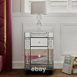 Mirrored Glass Dressing Table Stool Mirror Bedroom Console bevelled VENETIAN