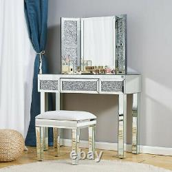Mirrored Glass Dressing Table Stool Mirror Console Makeup Desk Vanity Bedroom UK