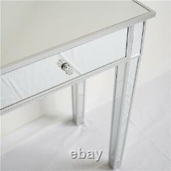 Mirrored Glass Dressing Table With 2 Drawers Makeup Vanity Desk Bedroom Dresser