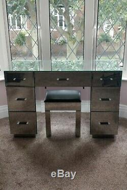 Mirrored Glass Dressing Table With Stool