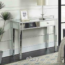 Mirrored Glass Dressing Table with 2 Drawers Bedroom Make-Up Console Vanity Table