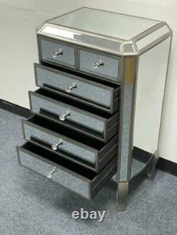 Mirrored Glass Large Chest Cabinet Drawers Table Dressing Venetian Furniture